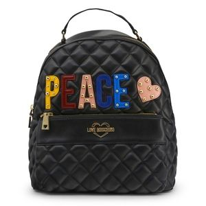 Love Moschino Peace Quilted Black Backpack